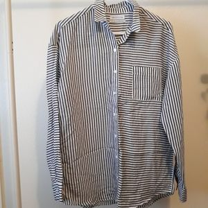 Oversized Striped Spliced Button Down